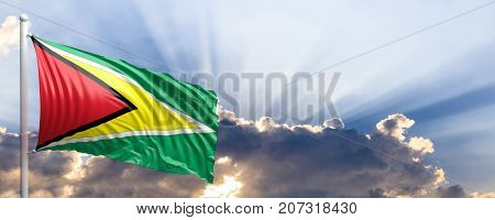 Guyana waving flag on blue sky. 3d illustration