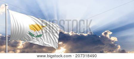 Cyprus waving flag on blue sky. 3d illustration