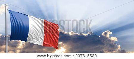 France waving flag on blue sky. 3d illustration