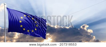 EU waving flag on blue sky. 3d illustration