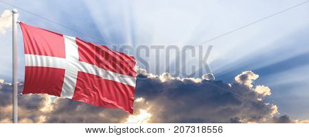 Denmark waving flag on blue sky. 3d illustration