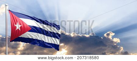 Cuba waving flag on blue sky. 3d illustration