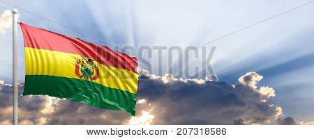 Bolivia waving flag on blue sky. 3d illustration