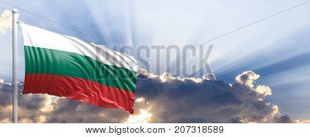 Bulgaria waving flag on blue sky. 3d illustration