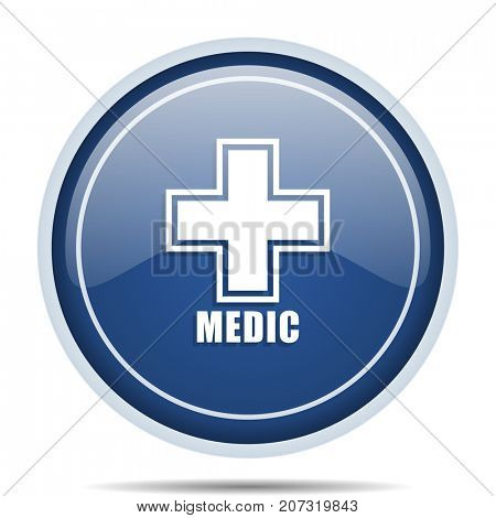 Medic blue round web icon. Circle isolated internet button for webdesign and smartphone applications.