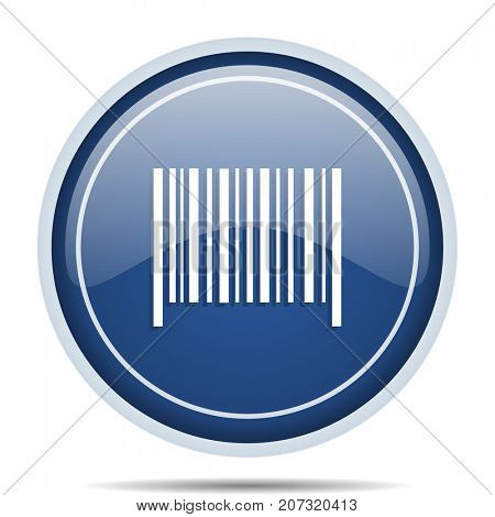 Barcode blue round web icon. Circle isolated internet button for webdesign and smartphone applications.