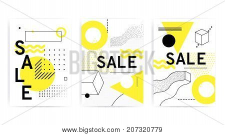 Universal posters collection with bright bold geometric yellow elements, chaotic composition in restrained sustained tempered style. Easy editable clipping mask. Magazine, leaflet, ad, typography, print