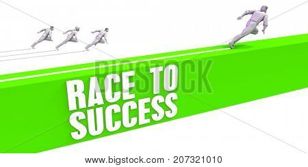 Race To Success as a Fast Track To Success 3D Illustration Render