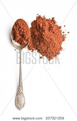 Tasty cocoa powder in spoon isolated on white background.