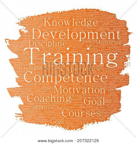 Conceptual training, coaching or learning, study paint brush word cloud isolated on background. Collage of mentoring, development, motivation skills, career, potential goals or competence