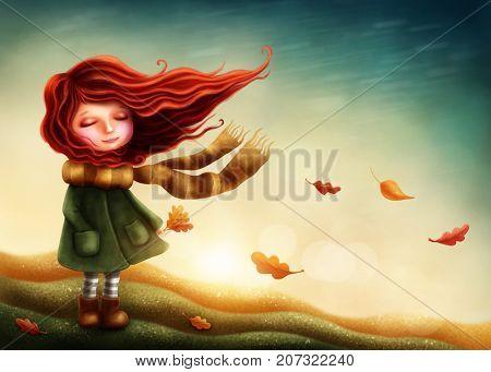 Little fairy girl in autumn