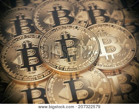 Golden bitcoins. Cryptocurrency background concept. 3d illustration