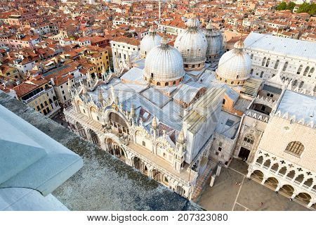Aerial view of St Mark's Basilica and the surrounding buildings in Venice, Italy