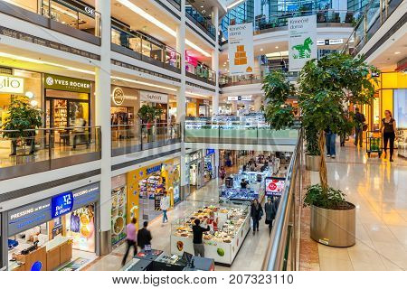 PRAGUE, CZECH REPUBLIC - SEPTEMBER 23, 2015: Palac Flora shopping mall interior view. Opened in 2003, contains 4 floors, 120 shops, Cinema City & IMAX theater and is one of largest malls in Prague.