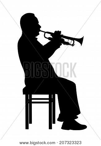 Man playing trumpet. Isolated white background. EPS file available.