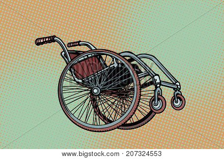 Realistic wheelchair, symbol International Day of Persons with Disabilities. Pop art retro vector illustration