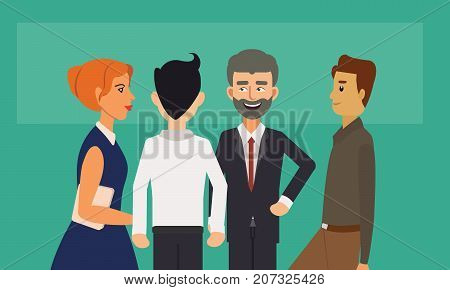 Business people group standing and talking. Business people discussion meeting concept illustration vector.