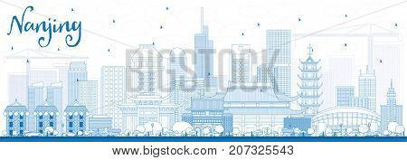Outline Nanjing China Skyline with Blue Buildings. Business Travel and Tourism Illustration with Modern Architecture.
