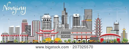 Nanjing China Skyline with Gray Buildings and Blue Sky. Business Travel and Tourism Illustration with Modern Architecture.