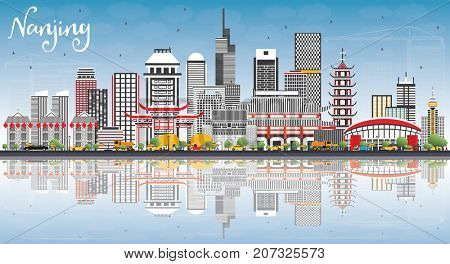 Nanjing China Skyline with Gray Buildings, Blue Sky and Reflections. Business Travel and Tourism Illustration with Modern Architecture.