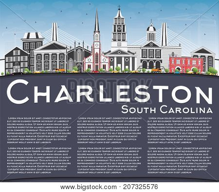 Charleston South Carolina Skyline with Gray Buildings, Blue Sky and Copy Space. Business Travel and Tourism Illustration with Historic Architecture.