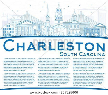Outline Charleston South Carolina Skyline with Blue Buildings and Copy Space. Business Travel and Tourism Illustration with Historic Architecture.