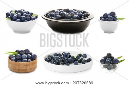 Collage of acai berries in different dishware on white background