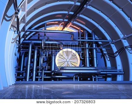 The interior of the plant.,3d render