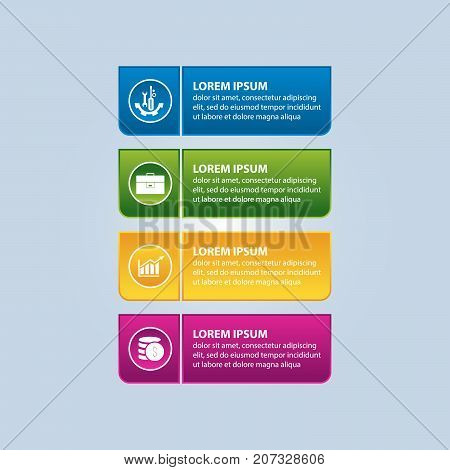 Vector Illustration. An Infographic Template With 4 Steps And An Image Of Four Rectangles And Circle