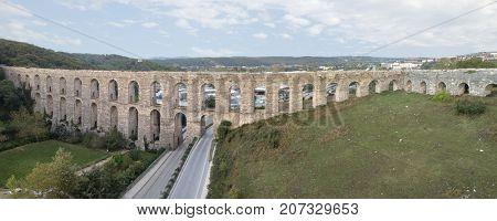 Egrikemer Aqueduct panorama in Istanbul