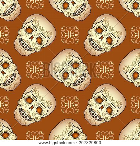 Day of the Dead seamless pattern with traditional sugar skull. Vector illustration of Mexican holiday Day of the Dead .
