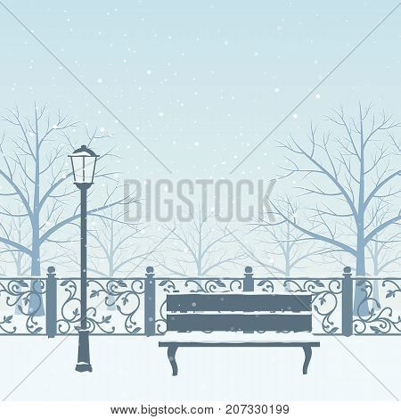 Snow drifts in winter park. Snow covered trees bench and street lamp. Christmas vector illustration.