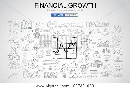 Financial Growth concept with Business Doodle design style: online presence, sales and offers, best timing. Modern style illustration for web banners, brochure and flyers.