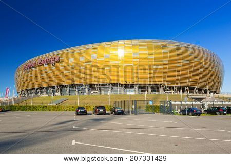 GDANSK, POLAND - AUGUST 14, 2017: Stadion Energa Gdansk with capacity of 41,620 spectators. Stadium in Gdansk is the largest arena in polish league Ekstraklasa and the third largest in the country.
