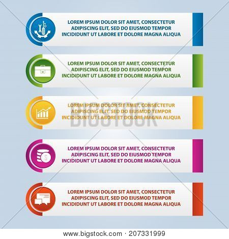 Vector Illustration. An Infographic Template With 5 Steps And An Image Of Five Rectangles. Use For B