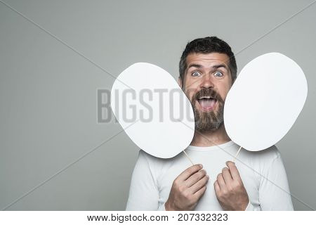 Hipster With Happy Face Hold Paper Nameplate.