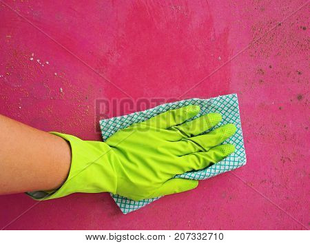 Close up of woman hand cleaning mold fungus in Protective Gear. Cleaning and hygiene in the house concept, copy space