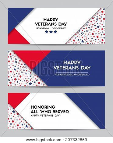 Happy Veterans Day. Set of vector headers for veterans day in USA. Facebook cover size