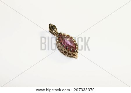 Gold pendant - pendant with a pink topaz stone
