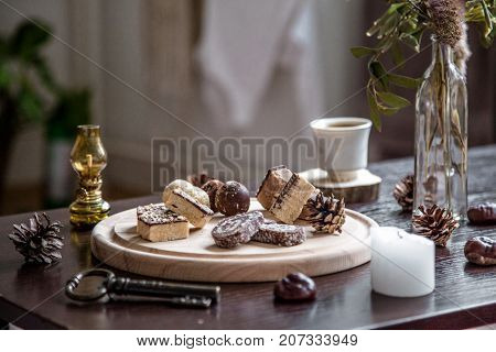 Sweets Dessert on Table with Coffee Autumn Setting