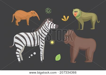 African animals cartoon vector set. zebra,  gorilla and others