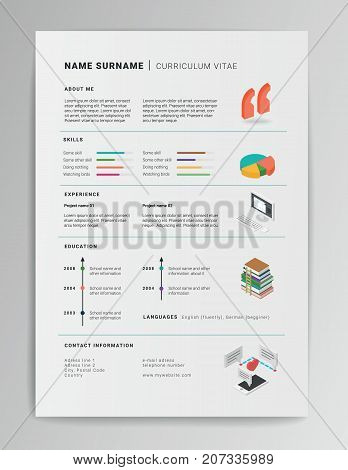 Creative vector CV template with isometric icons