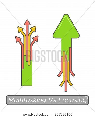 Multitasking vs focusing time management concept. Essential goal achieve vs busy and noneffective