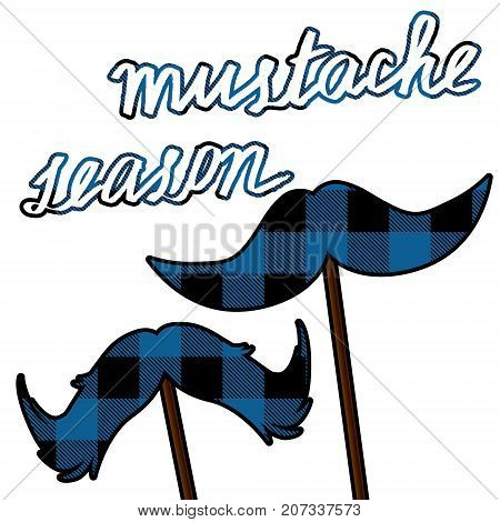 Movember moustache card with lumberjack pattern. Mustache season vector clipart.