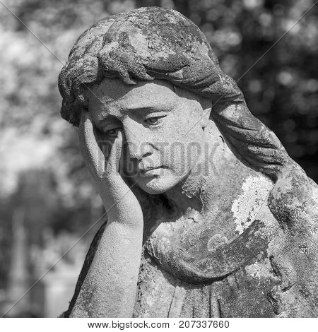 Fragment of ancient statue of Mary Magdalene (Prayer faith religion love hope concept) poster