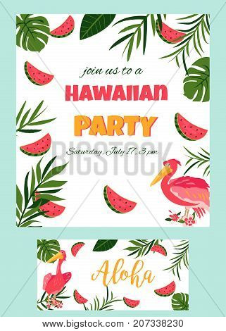 Tropical Hawaiian Poster with pelican. Party template Invitation banner, card.