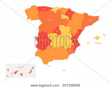 Map of Spain devided to 17 administrative autonomous communities. Simple flat vector map in shades of orange.