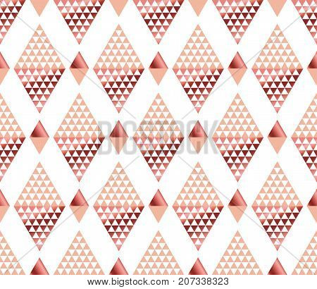 geometry triangle pattern. gold stylized vector illustration. Art Nouveau seamless ornamented pattern in yellow and rose color