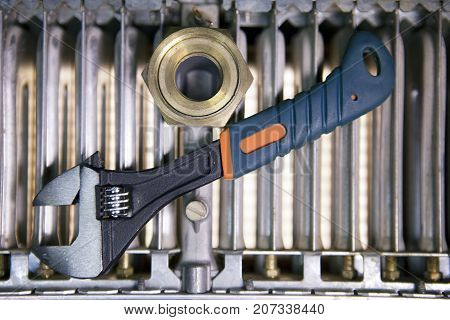 adjust wrench power grip and elements of water and gas shutoff valves flat lay