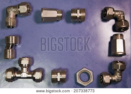 elements of water and gas shutoff valves flat lay